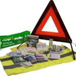 High-visibility Road Safety first aid kit with Warning Triangle and reflective Safety Vest