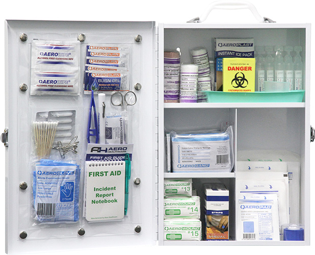 Food Industry First Aid Kit cabinet with blue detectable plasters and tape
